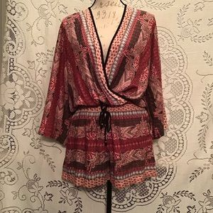 NWT-Angie Mixed Print Bell Sleeved Romper